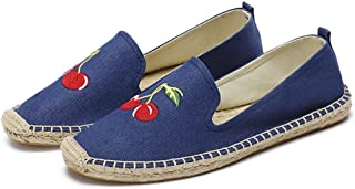 qzunique Women's Qz Canvas Slip-On Shoes Loafers Casual Sneakers Flats 8 B(M) US Cherry