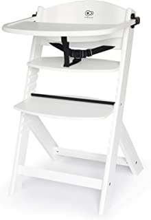Kinderkraft Wooden Highchair 3 in 1 ENOCK, Multifunctional Baby Chair, Ajustable Heigh and Footrest, Safety Harness, with ...