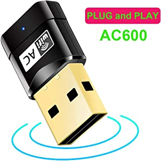 Driver Free WiFi Adapter for PC - Plug and Play 600Mbps Dual Band 2.4G / 5G USB Wireless WiFi Dongle Network Card for for Laptop Destop Win XP/7/8/10, Mac OS X 10.6-10.13