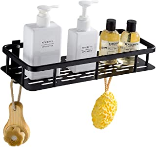 GERUIKE Bathroom Shelf Square Wall Mounted Space Aluminum Shower Storage Organizer Rack Adhesive No Rust No Damage Black