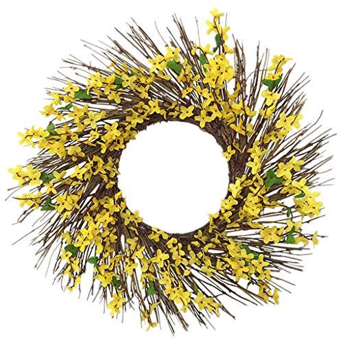 HUIJUAN Artificial Primrose Flowers Wreath Spring Wreath Outdoor for Front Door
