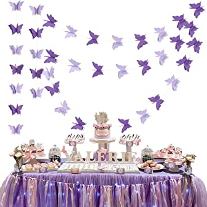BEISHIDA 5Pcs Purple Lavender Butterfly Paper Garland Hanging Decorative Banner for Home Ceiling Decor Birthday Party Baby Shower Wedding Theme Showcase Decoration Supplies Total 393 Inch Length