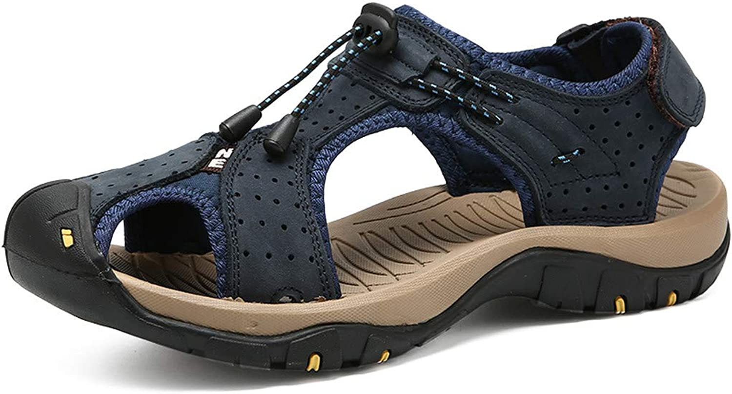 Summer Outdoor Mens Leather Flats Casual Beach shoes Breathable Sport Sandals