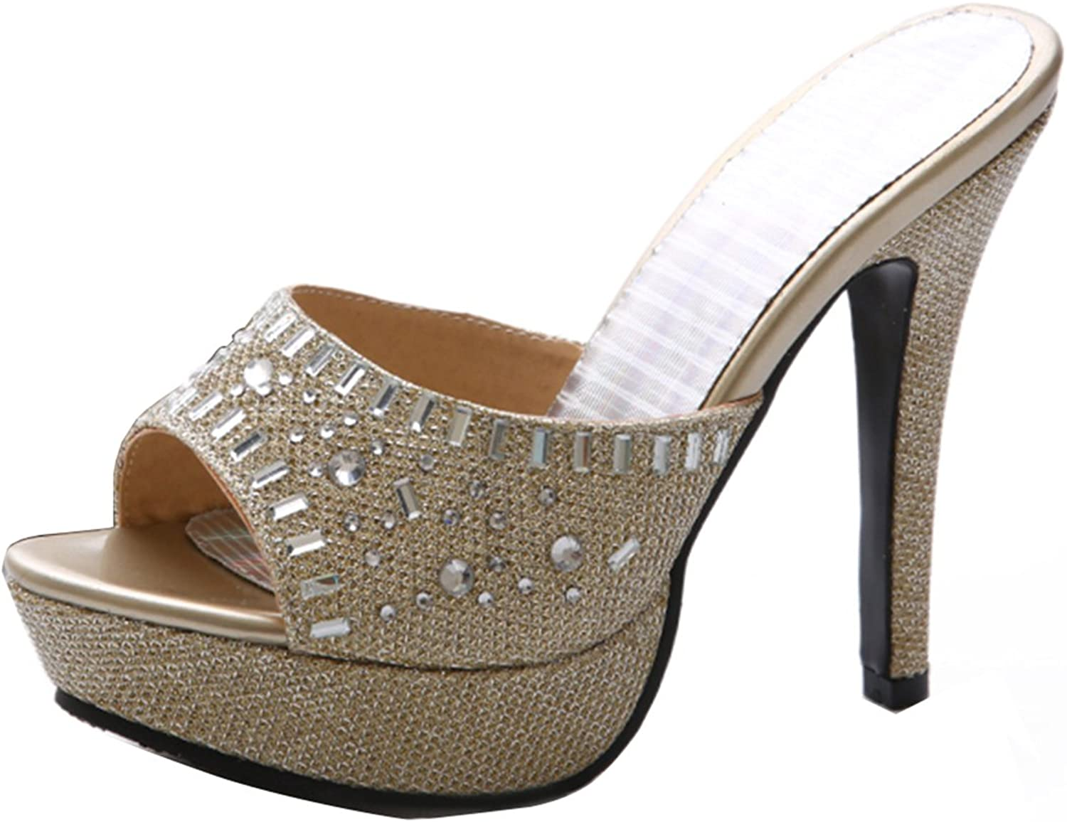 AIYOUMEI Women's Peep Toe shoes Glitter Platform Stiletto High Heels Sandals with Rhinestones