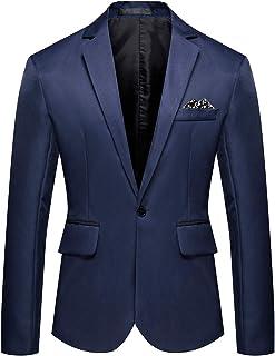 YOUTHUP Mens Lightweight Blazer Slim Blue