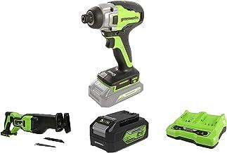 Greenworks Tools Destornillador inalámbrico y de taladro GD24ID + Batería sierra de sable GD24RS, 24V Li-Ion + Batería G24B4 2ª generación + Batería de doble ranura Cargador universal G24X2C
