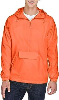 UltraClub Mens 1/4-Zip Hooded Pullover Pack-Away Jacket (8925)