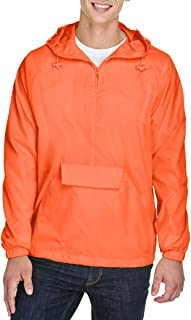 UltraClub Mens 1/4-Zip Hooded Pullover Pack-Away Jacket (8925)