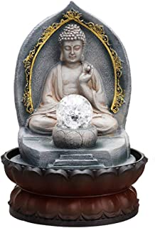 Indoor Fountains Chinese Lucky Buddha Statue Figurines Water Fountain Home Decoration Office Tabletop Water Ornament Resin Craft Wedding Gift