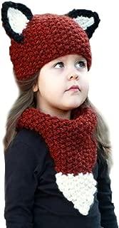Sunbona Toddler Baby Boys Girls Winter Animals Beanie Cap Cotton Knitted Scarves Warm Hats+Scarf Set