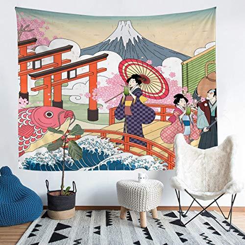 Tapiz japonés Ukiyoe para colgar en la pared, diseño de Hokusai Koi para mujeres, para niños y niñas, estilo japonés, decoración exótica, arte de pared para dormitorio, sala de estar, 152 x 224 cm