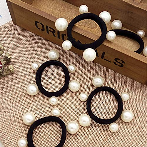 Aoxmas 10 pcs Black Colored Hair Holders Artificial Pearl Rubber Bands Elastics Hair Accessories for Girl Women No Damage Hair Seamless Pearl Towel Ring Hair Bands