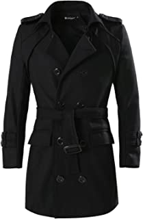 Men's Double Breasted Slim Fit Belted Winter Trench Coat Jacket