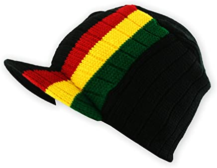 c643370add2 Mens Military Cable Knit Beanie Hat Cap with Peak in Black and Rasta Stripes
