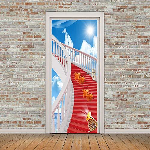 Deurssticker, renovatie, deurstickers, 3D-stickers voor binnendeuren, werk, esdoornbladen, op rode ladder, zelfklevende wandafbeeldingen voor deuren, deuren, deuren, renovatie, muurstickers voor woonkamer Medium