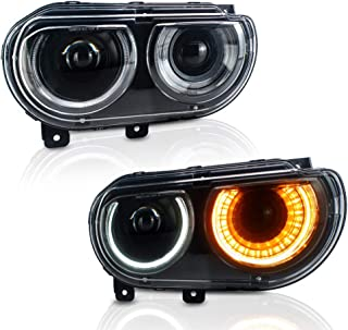 A&K Led Headlight for Dodge Challenger 2008 2009 2010 2011 2012 2013 2014,Dual Beam Projecctor Head Lamp Assembly with Sequential Turn Signal Light,Both Driver and Passenger Side (Clear Len)