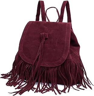 Rucksack Damen,iSpchen Fransen Frauen Rucksäcke Handtasche Reise Kleine Umhängetasche Quaste Große Kapazität Rucksäcke Rot