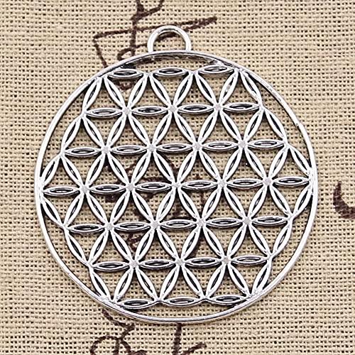 FZSWD 4 Uds encantos Flor de La Vida Yoga 48X44mm Colgantes de Color Plata Antigua DIY Haciendo Hallazgos Joyería Tibetana