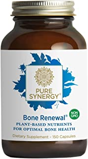 Pure Synergy Bone Renewal (150 Capsules) Bone Supplement w/Plant-Based Calcium, Magnesium, D3, K2, Trace Minerals