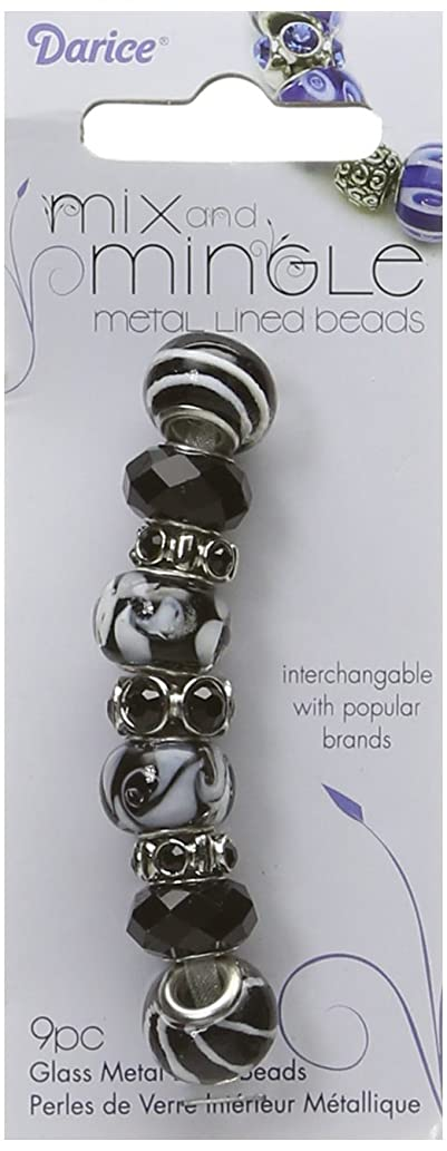 Darice Mix and Mingle Glass Lined Metal Beads, Black Mix