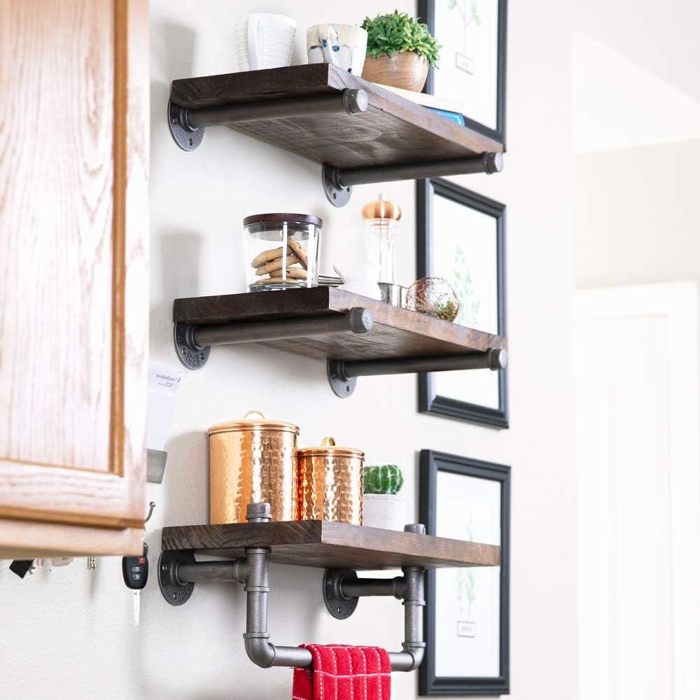 Darvish & Saints Rustic Industrial Pipe Shelves [Solid Wood 20 Tier]    Natural Grain, Modern Retro Floating Wall Shelf, Farmhouse Distressed,  Towel ...