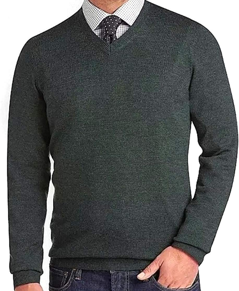 Liz Claiborne's Apt 9 Mens Classic Fit Merino Wool Blend V-Neck Sweater Dark Green