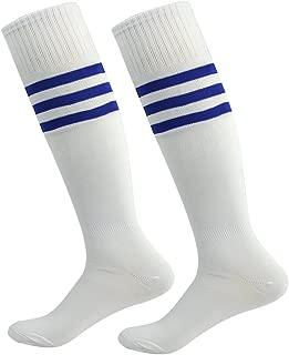 Fasoar Men's Women's Triple Stripe Knee High Soccer Tube Socks 2 Pack White Blue Stripe