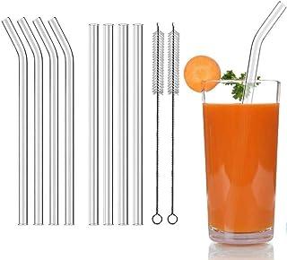 Aoktech 8 Pieces Reusable Glass Drinking Straws for Milkshakes, Frozen Drinks, Smoothies, Bubble Tea, Juice, 10mm Diameter...
