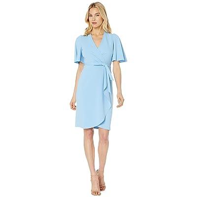 Donna Morgan Crepe Faux Wrap w/ Flutter Sleeve (Blue Cadet) Women