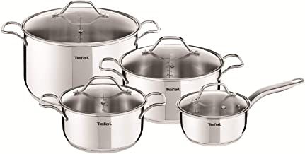 Tefal A702S885 Intuiton 5Pieces Pots and Pan Set, Stainless Steel Induction, Non Stick, Silver, Aluminium
