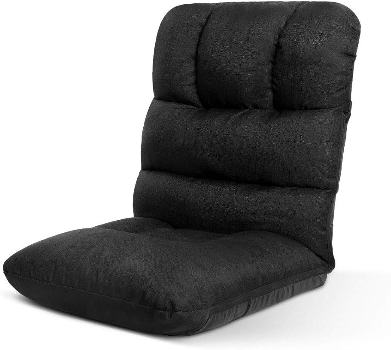 Artiss Adjustable Floor Lounge Sofa Foldable Recliner Linen Chaise Chair Black