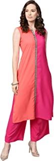 Ziyaa Women's Pink Color Solid Straight Crepe Kurta With Palazzo Set
