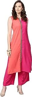 Ziyaa Women's Pink Color Solid Straight Crepe Kurta With Palazzo / Salwar Suit Set