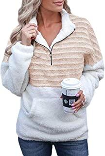 Womens 1/4 Zip Long Sleeve Fleece Pullover Patchwork Sweatshirt Casual Outwear