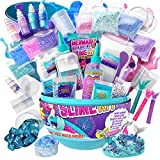GirlZone Egg Surprise Mermaid Sparkle Slime Kit for Girls, Measures 9.5 Inches High, 39 Pieces to Make DIY Glow in The Dark Slime with Lots of Glitter Slime Add In's, Great Mermaid Gifts for Girls