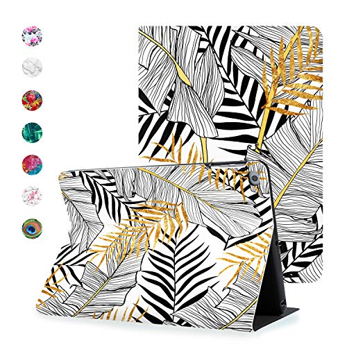 Hoppacase Premium iPad Case 10.2 Inch 2020 2019 for 8th / 7th Generation - Revolutionary Viewing Access, Smart Cover with Auto Wake/Sleep, Full Body Shockproof Protection - Tropical Black and White