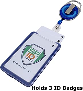 Hard Plastic 3 Card Badge Holder with Retractable Reel - Retracting ID Lanyard Features Belt Clip & Carabiner - Rigid Vertical CAC Holder - Top Load Holds Three Cards by Specialist ID (Royal Blue)