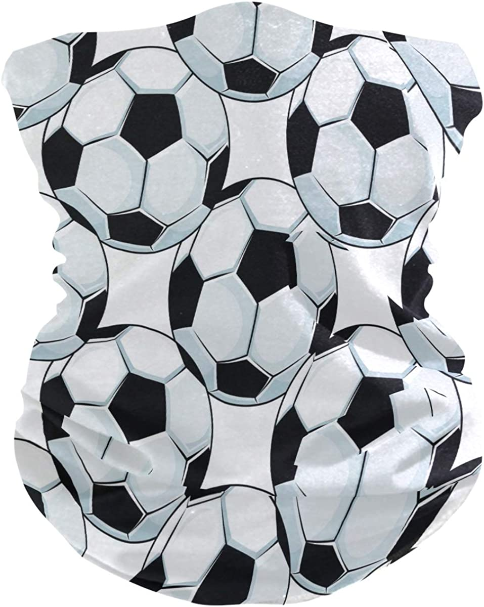 ALAZA Black White Football Soccer Ball Headwear Magic Scarf Headband Bandana Outdoor Sports for Women Men