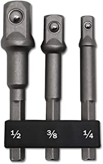 "3 PCS | 1/4"", 3/8"", 1/2"" Impact Drive, PTSLKHN 1/4"" Hex Shank Socket Adapter Set, CR-V Steel 
