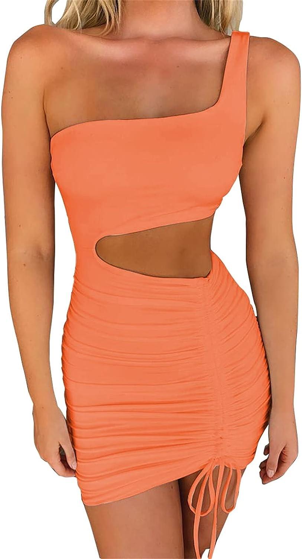 PRIMODA Women's Sexy One Shoulder Sleeveless Cutout Ruched Club Dress Bodycon Mini Dress