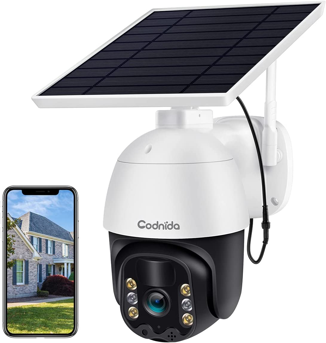 Security Camera Outdoor, Codnida Pan Tilt Solar Powered Security Camera, Wireless WiFi PTZ Camera with 1080P, Motion Detection, 2-Way Audio, Color Night Vision, IP66 Weatherproof, SD/Cloud Storage