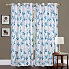 Fresh From Loom Polyester Floral Grommet Eyelet Curtain For Long Door, 9ft, Blue, Pack of 2