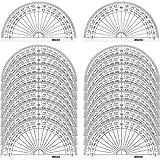 Kunststoff Winkelmesser 180 Grad Winkelmesser für Winkel Messung Student Mathematik, 4 Zoll, Klar, 20 Stück