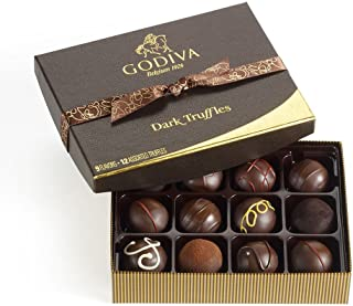 Godiva Chocolatier Assorted Dark Chocolate Truffles Gift Box, 12-Pieces, 8 Ounce