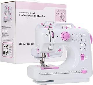 Máquina de coser para principiante, máquina de arreglar manualidades con 2 velocidades, 12 puntadas incorporadas, luz nocturna LED y pedal de pie, color rosa