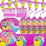 Vajilla de Cumpleaños Desechable, BESLIME Vajilla de Fiesta TemÁTica de Disney Plato Taza Servilleta Tenedor Cuchillo Mantel Banderín