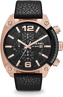 Men's DZ4297 Overflow Rose Gold Black Leather Watch