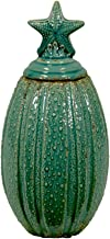 Urban Trends Ceramic Canister Starfish of Shell Collection, Gloss Teal