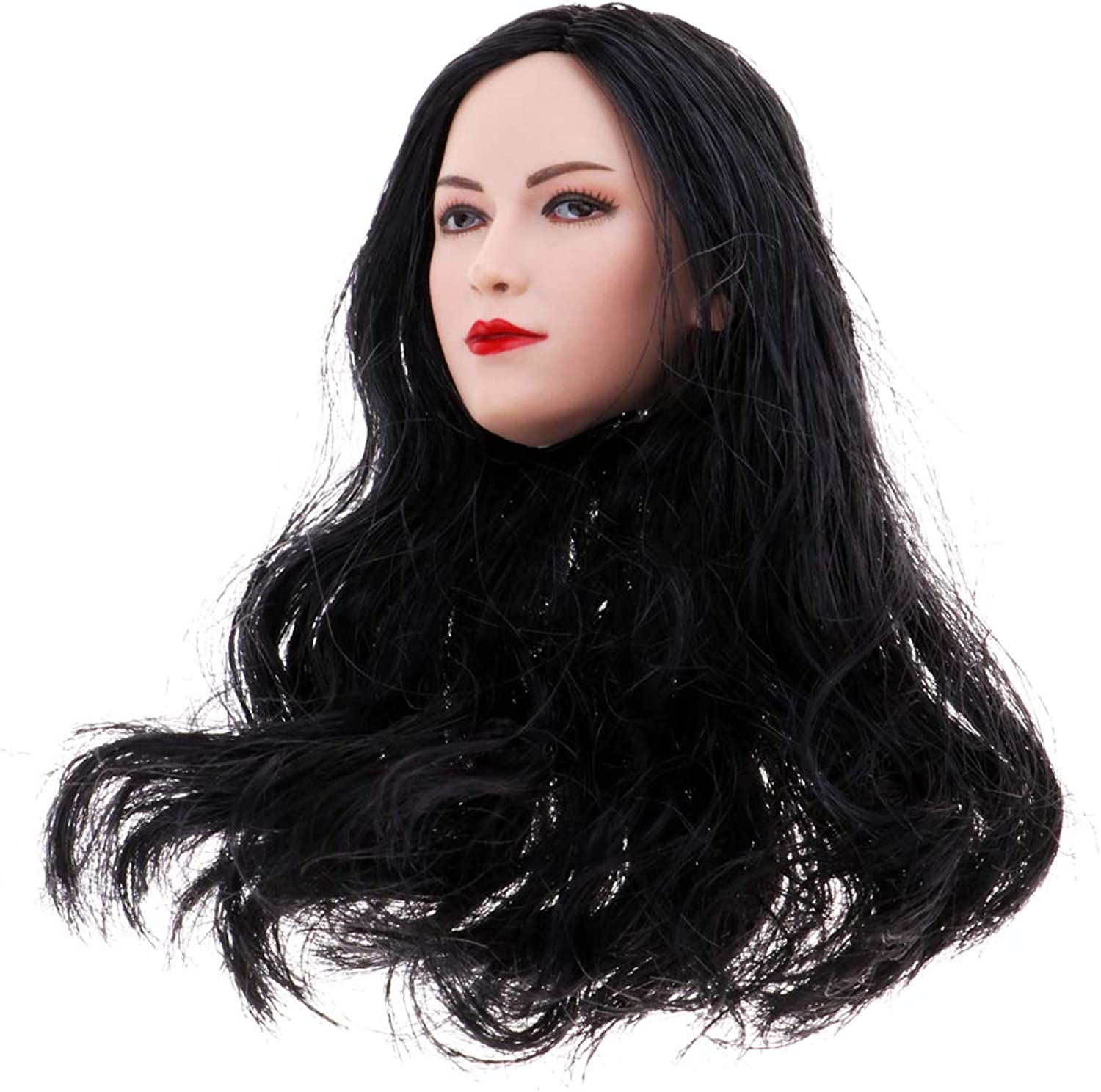 Baoblaze 1 6 Scale Lady Head Sculpture Black Long Hair for 12'' Phicen Toy Accessory