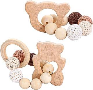mordedor A0127 Anillo mordedor para beb/é de madera de haya de silicona mordedor de pulsera